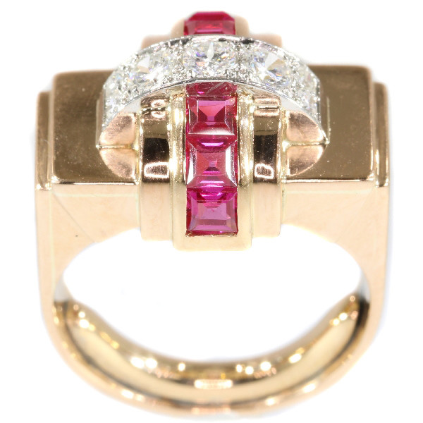 Stylish Retro red gold Cocktail ring with diamonds and rubies by Unknown Artist