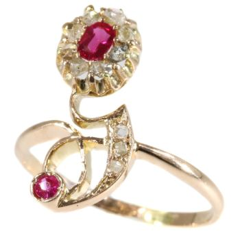 Typical strong design Art Nouveau ruby and diamond ring by Unknown Artist