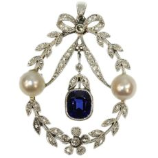 Belle Epoque diamond pearl and sapphire pendant by Unknown