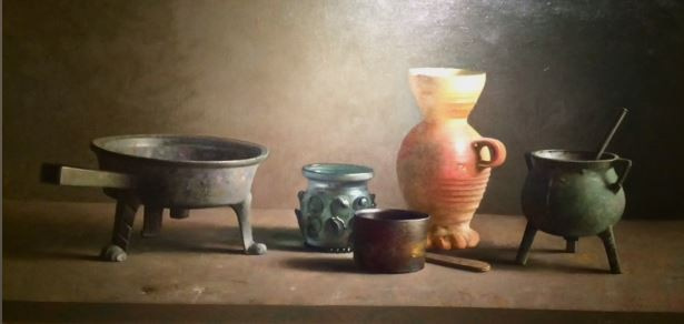 Still life with various objects by Henk P.N. Helmantel