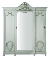 French Louis XVI Style Three-Door Painted Armoire