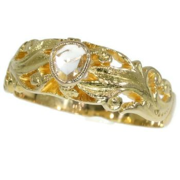 Antique Victorian mens ring with one rose cut diamond by Unknown Artist