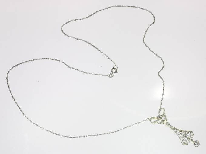 Belle Epoque turn of the century diamond lacey necklace with bow motif by Unknown Artist