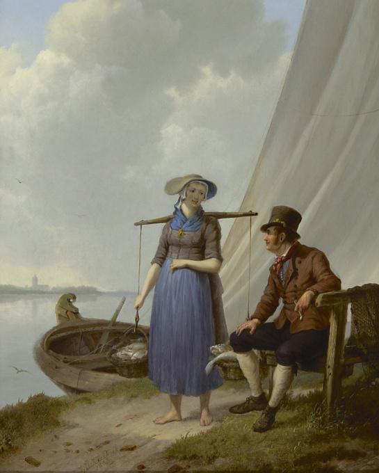 A fisherman and woman, chatting by Johannes Hermanus Koekkoek