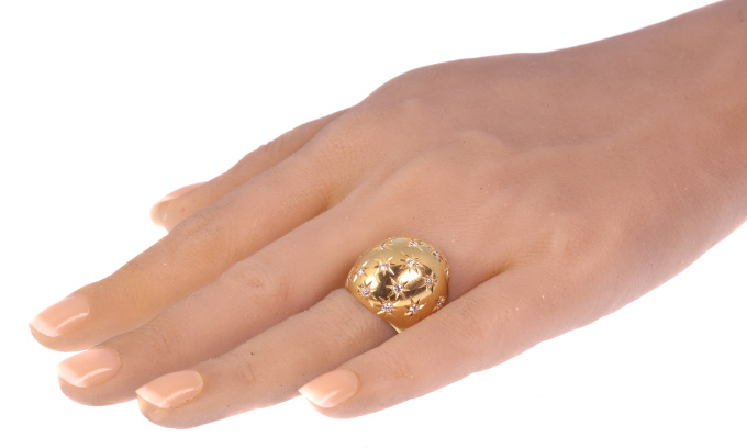 Vintage high domed gold ring with diamonds by Casetti by Unknown