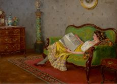 A lady reading on the sofa by Robert Völcker
