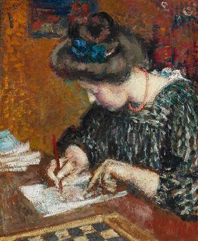 Portrait of Mrs Lemmen Writing by Georges Lemmen