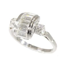 Vintage Fifties Art Deco inspired diamond engagement ring by Unknown Artist