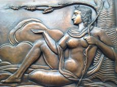 Wall Decoration, Diana, Goddess of the Hunt, Hammered Copper, Art Deco by Oscar De Klerck
