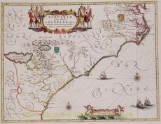 North America, Virginia, East coast antique map  by  Blaeu
