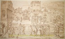 Gewassen tekening met pen en bruine inkt en houtskool door Jan Luyken (Amsterdam 1649-1712) by Luyken, Jan (1649-1712)