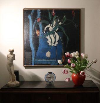Tulips on a blue chair by Désiré Haine