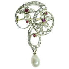 Art Nouveau brooch with diamonds and rubies Jugendstil by Unknown Artist