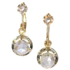 Large rose cut diamond Art Deco earrings by Unknown Artist