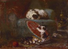Kittens playing with a Japanese parasol by Henriëtte Ronner-Knip