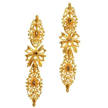 Antique Portuguese long pendent earrings with rose cut diamonds high carat gold by Unknown Artist