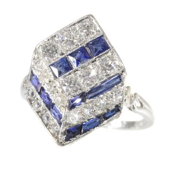 Vintage Art Deco ring diamonds and sapphires 18K white gold by Unknown Artist