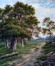 A traveller in a wood landscape