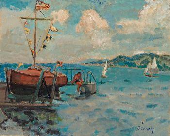 Vue portuaire avec voiliers by Willem Paerels