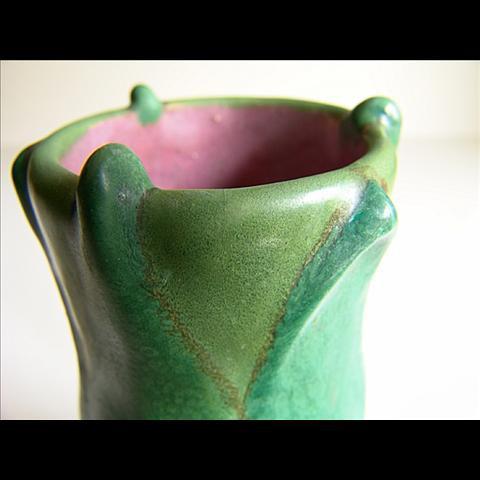 Green vase by Lachenal by Edmund Lachenal