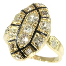 Mid 18th Century antique Baroque/Rococo ring with old mine cut diamonds by Unknown