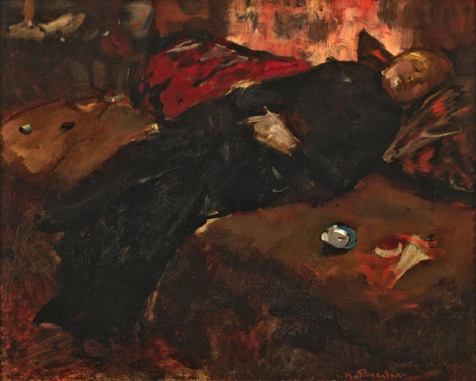 'Rustend meisje op de sofa' by George Hendrik Breitner