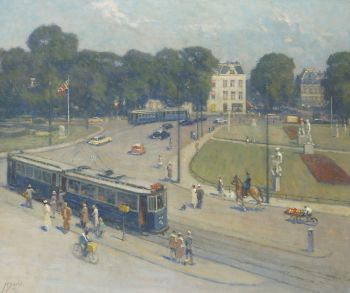 A view of the Frederiksplein, Amsterdam by Anthonie Pieter Schotel
