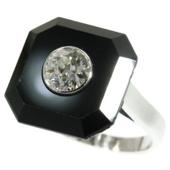 Art Deco onyx and diamond engagement ring by Unknown Artist