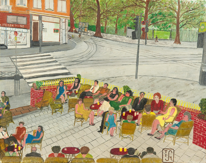 A terrace near the Oosterpark in Amsterdam by Joop Smits