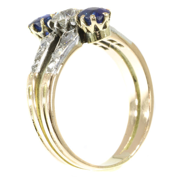 Antique Victorian ring with diamonds and sapphires by Unknown Artist