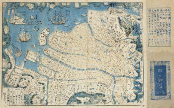 A JAPANESE WOODBLOCK PRINT MAP OF NAGASAKI HARBOUR, SHINKAN NAGASAKI NO DZU by Unknown Artist