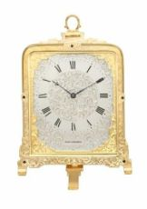 An English engraved gilt brass Cole strut clock, retailer Hunt & Roskell, circa 1855 by Thomas Cole, Hunt & Roskell