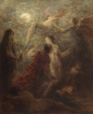 Scene of figures with an angel