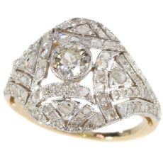 Belle Epoque Art Deco diamond two tone gold ring by Unknown Artist