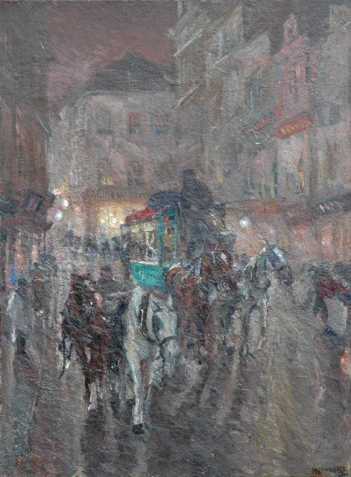 An omnibus driving through the city night by Maurits Niekerk