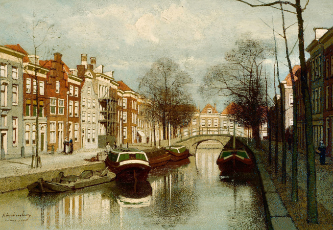 A city view by Johannes Christiaan Karel Klinkenberg