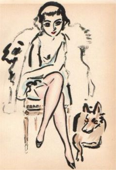 Girl with dog by Kees van Dongen