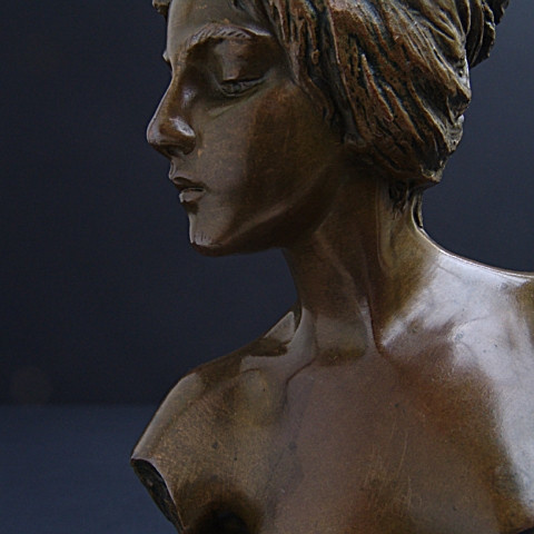 At deco bust of Diane by Emmanuel Villanis