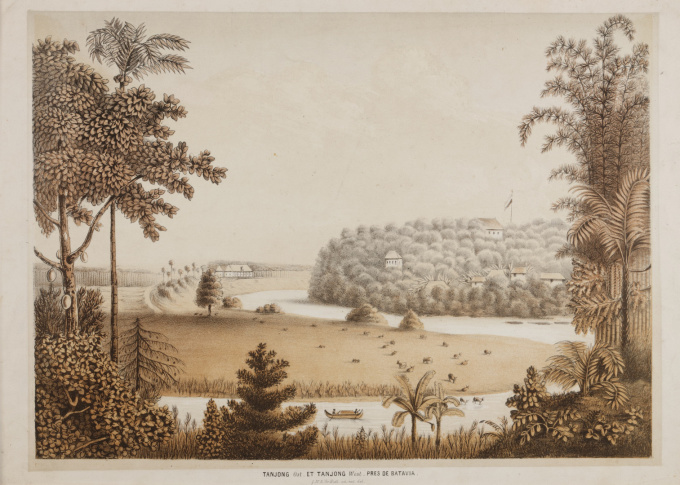 """Tandjong East and Tandjong West, near Jakarta (Batavia) 1819"" by QUIRIJN MAURITS RUDOLPH VERHUELL"