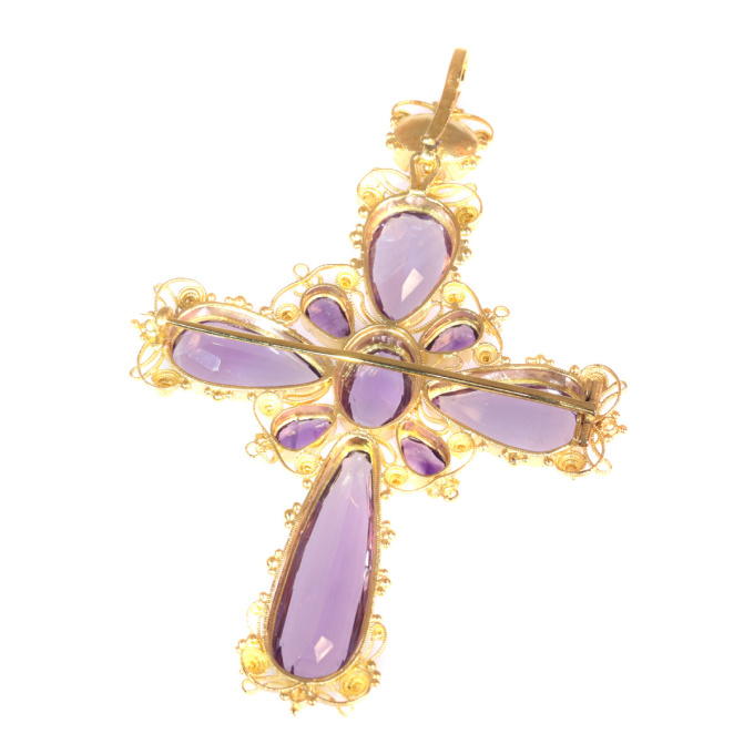 Antique gold Victorian filigree cross ten beautiful amethysts brooch/pendant by Unknown Artist