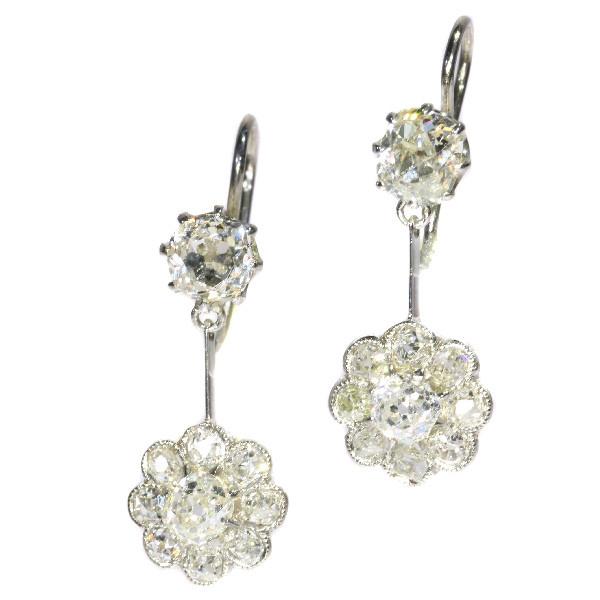 Platinum Art Deco pendent diamond earrings by Unknown Artist