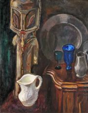 Still-life with white jar and a GES statue from New Ireland (Papoua New Guinee) by Jan Sluijters