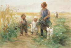 Kinderen met hun lammetje op weg naar huis by Jan Zoetelief Tromp