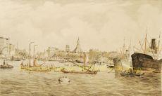 Havengezicht Rotterdam  by  Eugène Rensburg