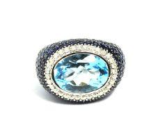 Aqua sapphire with a blue topaz ring