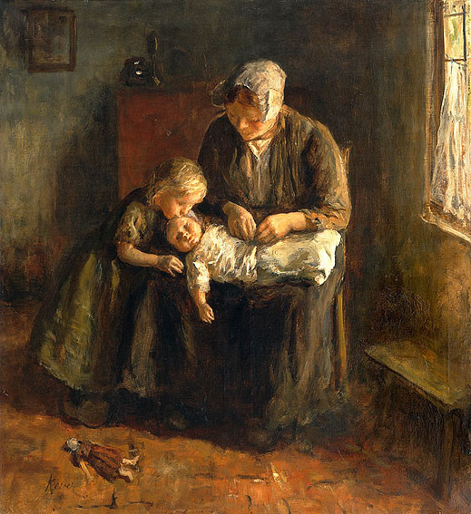 Interior Mother with two Children by Hein Kever