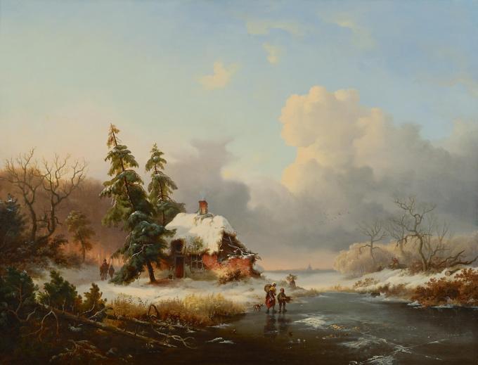 Winter landscape with wood gatherers by Frederik Marinus Kruseman