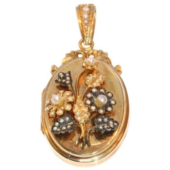 Victorian rose gold locket with seed pearl set bouquet of flowers on top by Unknown Artist