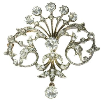 Antique diamond set pendant and brooch in peacock tail model by Unknown Artist
