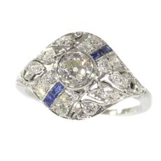Original Vintage Art Deco ring white gold diamonds and sapphires by Unknown